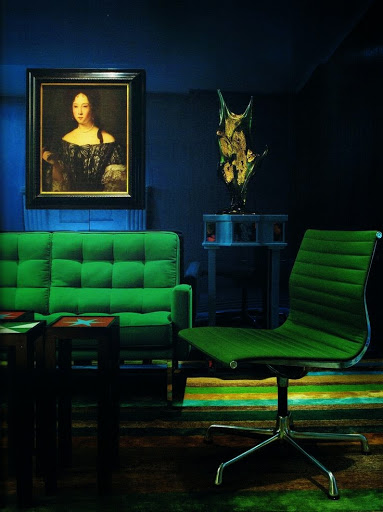 Love the emerald green against the blue wall www.roomsrevamped.com