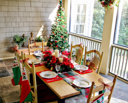 Christmas tree on the porch by Robin LaMonte/Rooms Revamped Interior Design