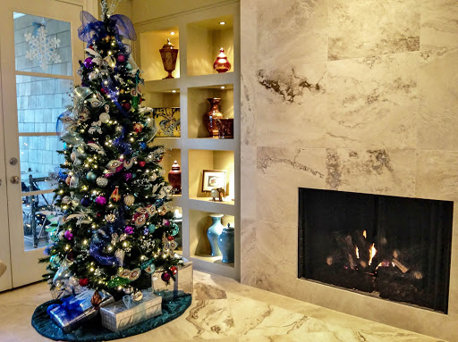 Christmas tree in the living room by Robin LaMonte/Rooms Revamped Interior Design