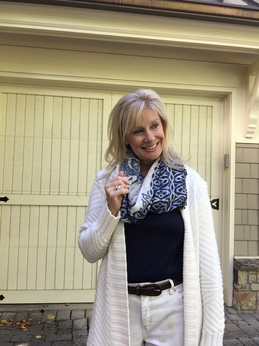 Robin LaMonte wearing an infinity scarf from Chico's.