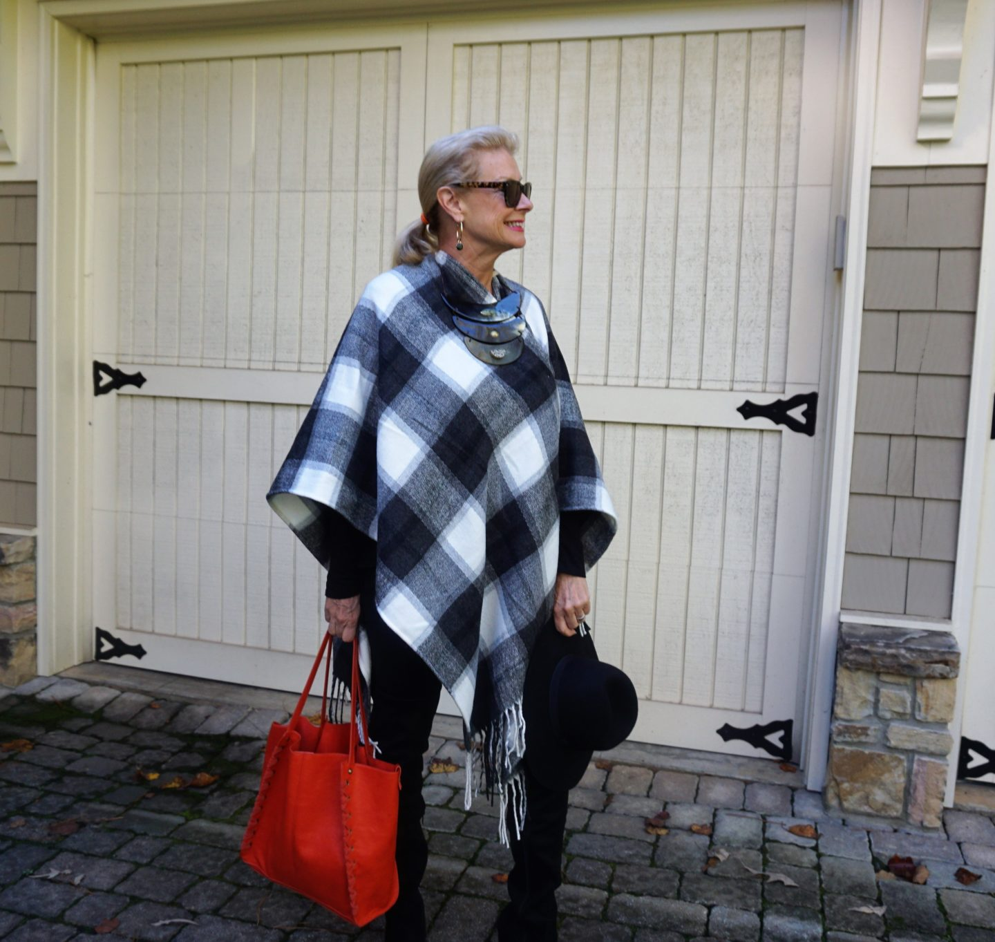 5 Ways to Style a Buffalo Plaid Poncho -Shopping My Closet-Hello I'm 50ish