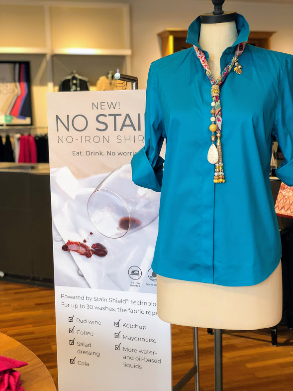 b7c721b06d1613 The No Stain No Iron Shirt is treated with a special formula designed to  repel oil-based and water-based stains – meaning everyday things like  coffee